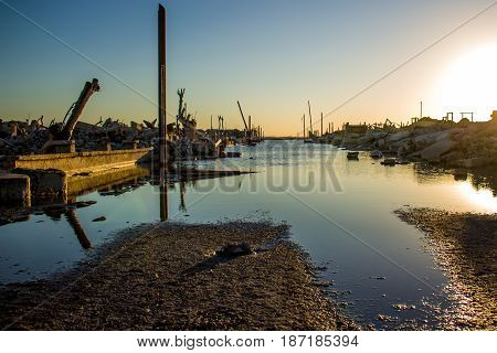 Ruins of the flooded city of Epecuen in the Province of Buenos Aires