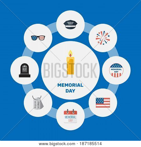 Flat History, American Banner, Fire Wax And Other Vector Elements. Set Of History Flat Symbols Also Includes Day, Glasses, American Objects.