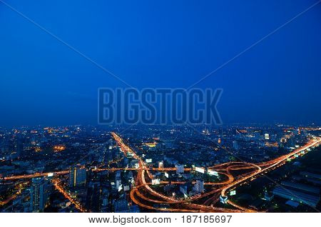 City With Night Traffic Intersection Center