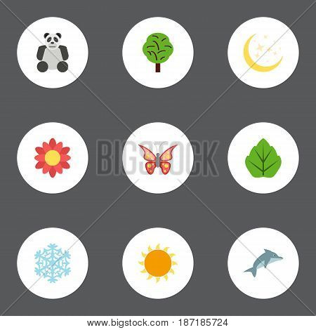 Flat Night, Playful Fish, Sunshine And Other Vector Elements. Set Of Eco Flat Symbols Also Includes Night, Playful, Snow Objects.