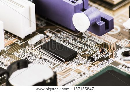 Integrated Semiconductor Microchip Microprocessor On Circuit Board Representative Of The High Tech I
