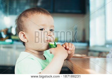 Little Boy Eating A Fresh Cucumber