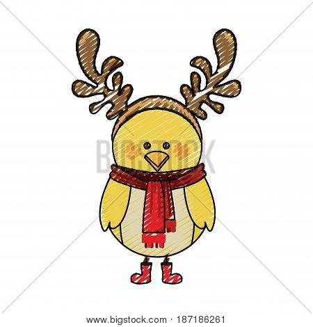 color crayon stripe cartoon of chicken with horns of reindeer vector illustration
