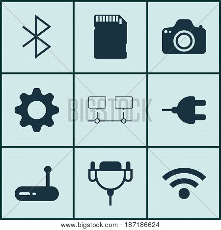 Set Of 9 Computer Hardware Icons. Includes Camera, Wireless, Connected Devices And Other Symbols. Beautiful Design Elements.