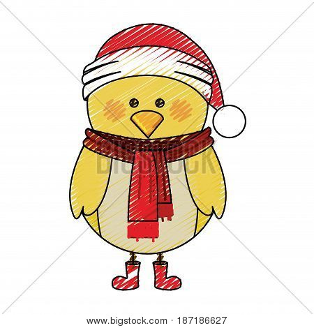 color crayon stripe cartoon of chicken with scarf and boots and christmas hat vector illustration