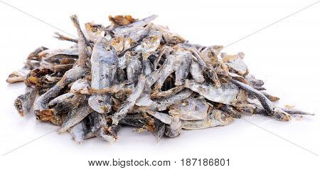 Dried fishes isolated on white background creature, fauna, cooked, prepared, salty