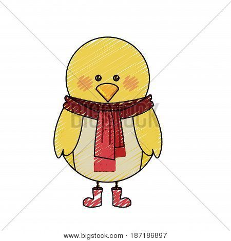 color crayon stripe cartoon of chicken with scarf and boots in light colors vector illustration