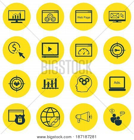 Set Of 16 SEO Icons. Includes Video Player, Security, Digital Media And Other Symbols. Beautiful Design Elements.