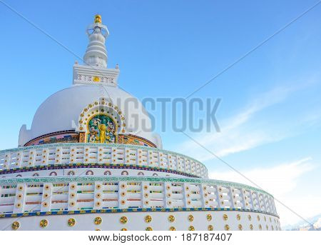 View of Tall Shanti stupa with clear sky in Leh Ladakh northern India.