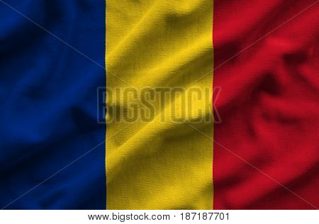 Flag Of Romania. Flag Has A Detailed Realistic Fabric Texture.