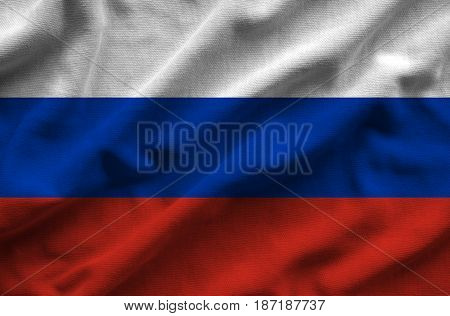 Flag Of Russia. Flag Has A Detailed Realistic Fabric Texture.
