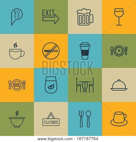 Set Of 16 Food Icons. Includes Tea, Mocha, Lemonade And Other Symbols. Beautiful Design Elements.