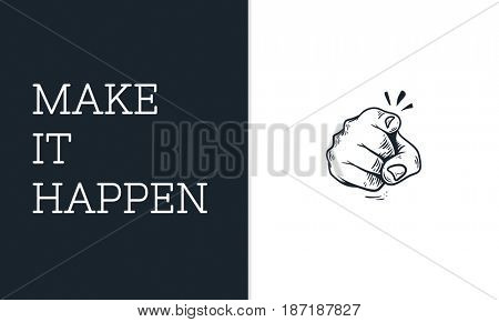 Illustration of pointing finger with motivated aspirations