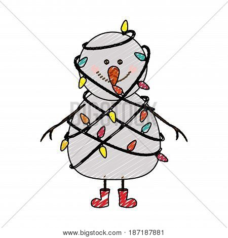 color crayon stripe cartoon of snowman with red boots and tangled in cord lights christmas vector illustration