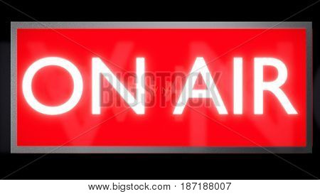 ON AIR Sign, Red background and White text