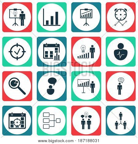 Set Of 16 Management Icons. Includes Opinion Analysis, Group Organization, Report Demonstration And Other Symbols. Beautiful Design Elements.