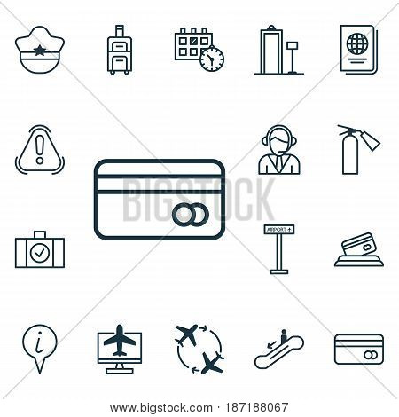 Set Of 16 Traveling Icons. Includes Siren, Fly Around, Internet Ticket And Other Symbols. Beautiful Design Elements.