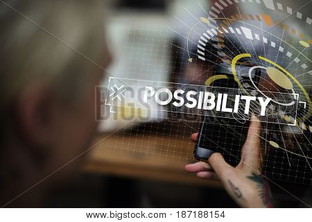 Woman using smart phone possibility word graphic design