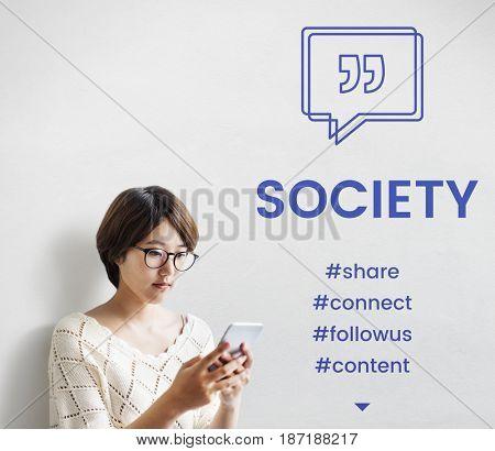 Society Speech Bubble with Quotation Mark