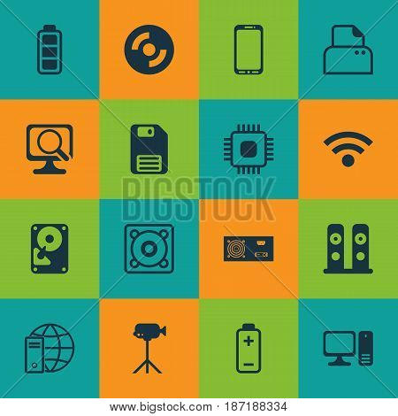 Set Of 16 Computer Hardware Icons. Includes Music, Wireless, Battery And Other Symbols. Beautiful Design Elements.