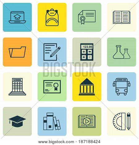 Set Of 16 School Icons. Includes Chemical, Diploma, Distance Learning And Other Symbols. Beautiful Design Elements.