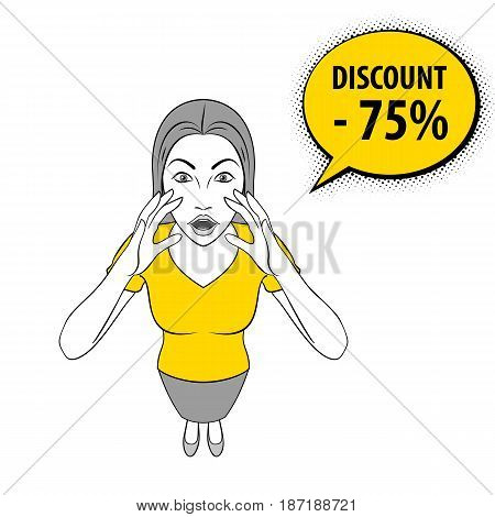 Cartoon Illustration of a Young Woman Screams Discount