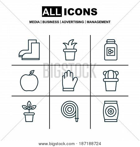 Set Of 9 Agriculture Icons. Includes Protection Mitt, Nectarine, Flowerpot And Other Symbols. Beautiful Design Elements.