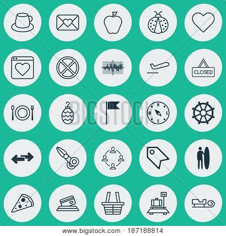 Set Of 25 Universal Editable Icons. Can Be Used For Web, Mobile And App Design. Includes Elements Such As Coffee Cup, Clippers, Collaboration And More.