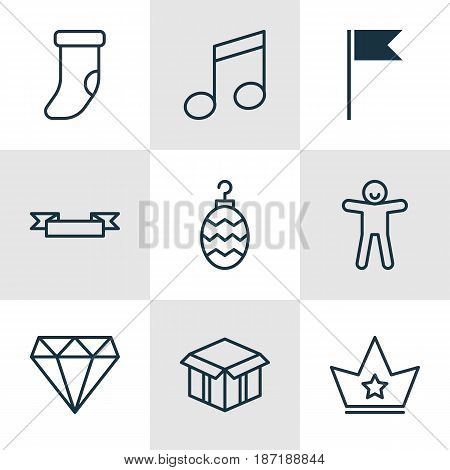 Set Of 9 New Year Icons. Includes Open Cardboard, Shortcake, Flag Point And Other Symbols. Beautiful Design Elements.