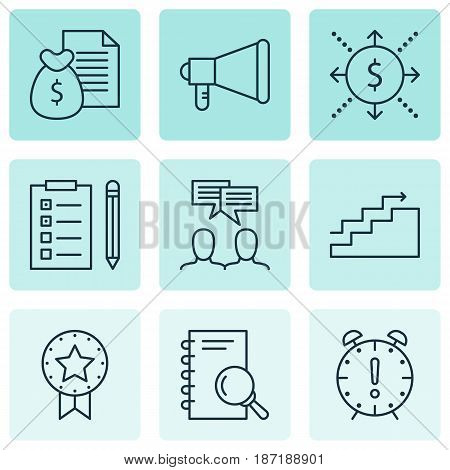 Set Of 9 Project Management Icons. Includes Analysis, Reminder, Report And Other Symbols. Beautiful Design Elements.