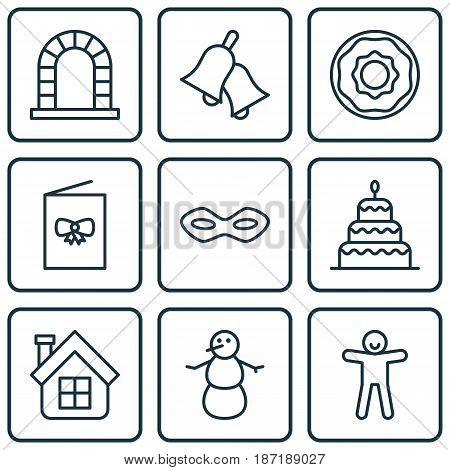 Set Of 9 New Year Icons. Includes Arch, Shortcake, Dessert And Other Symbols. Beautiful Design Elements.