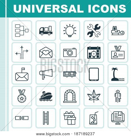 Set Of 25 Universal Editable Icons. Can Be Used For Web, Mobile And App Design. Includes Elements Such As Delivery, Greeting Email, Significant Letter And More.