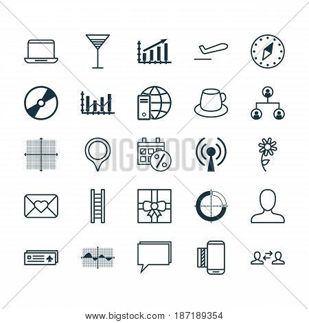 Set Of 25 Universal Editable Icons. Can Be Used For Web, Mobile And App Design. Includes Elements Such As Airliner Takeoff, Coffee Cup, Filled Wave Chart And More.