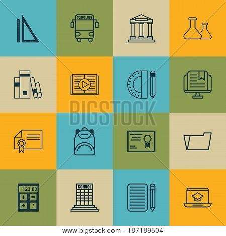 Set Of 16 Education Icons. Includes Haversack, Diploma, Document Case And Other Symbols. Beautiful Design Elements.