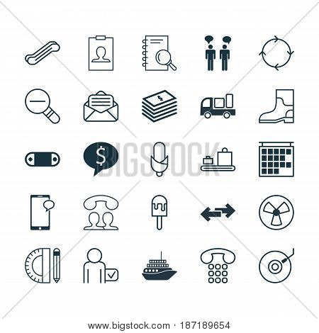 Set Of 25 Universal Editable Icons. Can Be Used For Web, Mobile And App Design. Includes Elements Such As Business Deal, Departure Information, Gramophone And More.