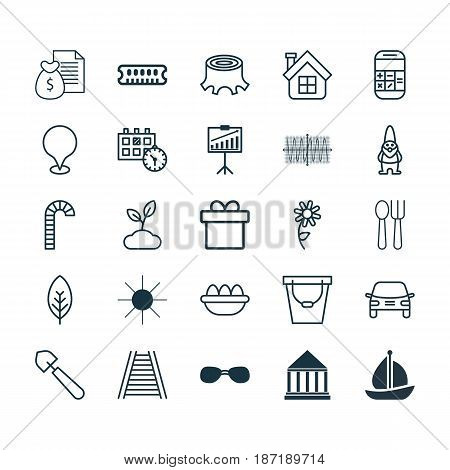 Set Of 25 Universal Editable Icons. Can Be Used For Web, Mobile And App Design. Includes Elements Such As Map Pointer, Cutlery, Lollipop And More.
