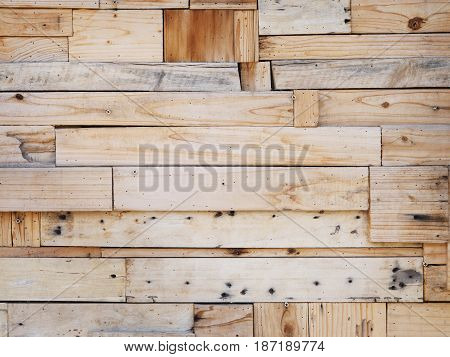 Natural plank wooden wall for texture and background