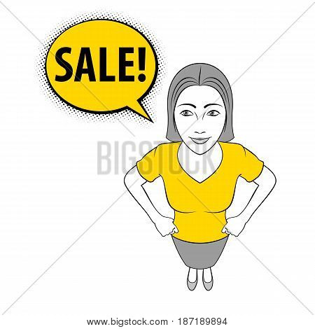 Cartoon Illustration of a Young Woman is Smiling with Sale Sign