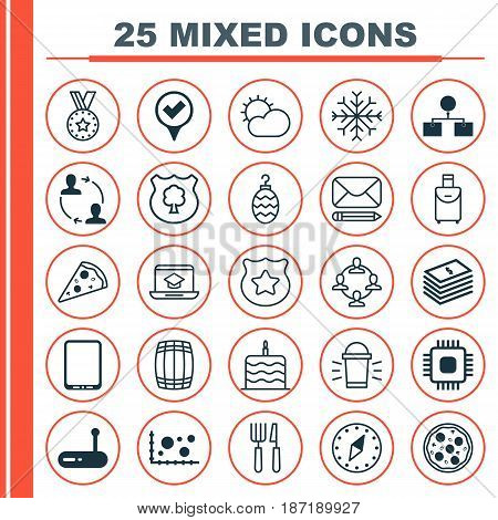 Set Of 25 Universal Editable Icons. Can Be Used For Web, Mobile And App Design. Includes Elements Such As Hang Lamp, Distance Learning, Cellphone And More.