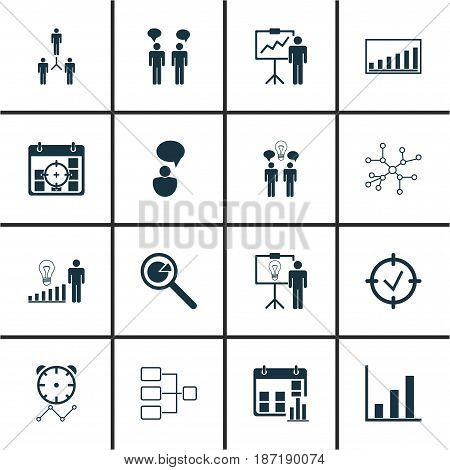 Set Of 16 Management Icons. Includes Company Statistics, System Structure, Project Targets And Other Symbols. Beautiful Design Elements.