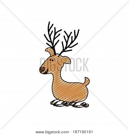 color crayon stripe cartoon of funny reindeer lazy vector illustration