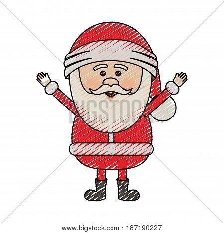 color crayon stripe cartoon of santa claus with open arms vector illustration