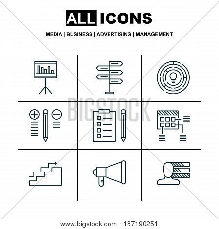 Set Of 9 Project Management Icons. Includes Innovation, Opportunity, Growth And Other Symbols. Beautiful Design Elements.
