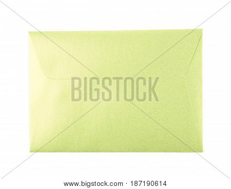 Closed paper envelope isolated over the white background