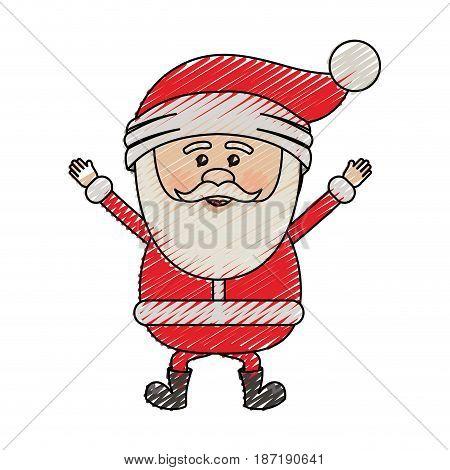 color crayon stripe cartoon of santa claus happy vector illustration