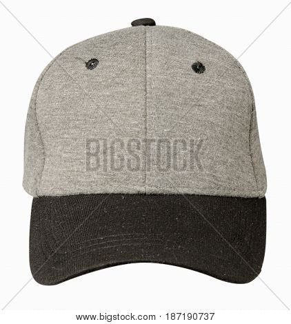 Hat Isolated On White Background. Hat With Black Visor.gray Hat