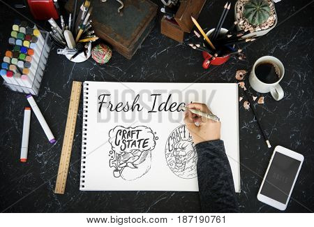 People Hand Writing Ideas Creative Design Word