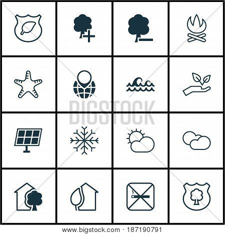 Set Of 16 Eco-Friendly Icons. Includes Save World, Timber, Pin Earth And Other Symbols. Beautiful Design Elements.