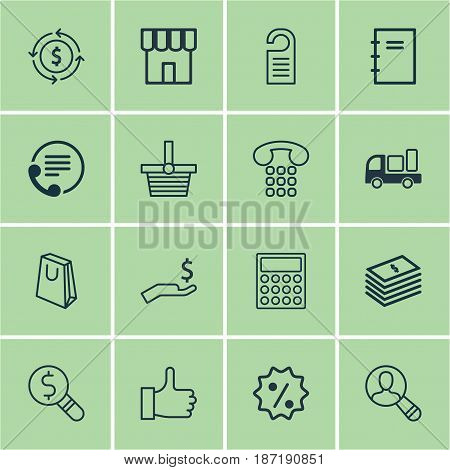 Set Of 16 E-Commerce Icons. Includes Dollar Banknote, Rebate Sign, Business Inspection And Other Symbols. Beautiful Design Elements.
