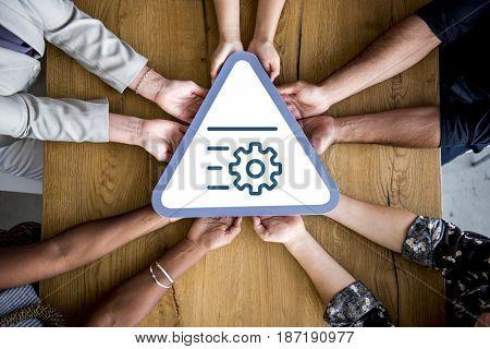 Gear symbol corporate team collaboration icon